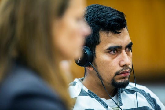 Cristhian Bahena Rivera, 24, listens to the court proceeding during his arraignment on Wednesday, Sept. 19, 2018, at the Poweshiek County Courthouse in Montezuma. Bahena Rivera pleaded not guilty to the charge of first-degree murder in the death of Mollie Tibbetts