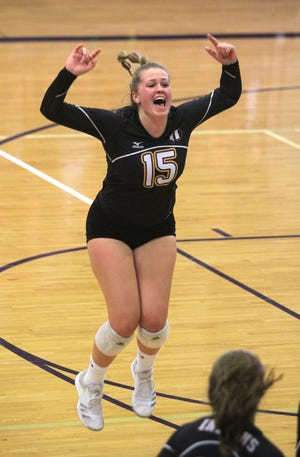 Indianola junior Anna Marvelli reacts to a point. Class 5A 11th-ranked Indianola beat Class 4A third-ranked Dallas Center-Grimes in five games in a key Little Hawkeye matchup in Indianola Sept. 18.