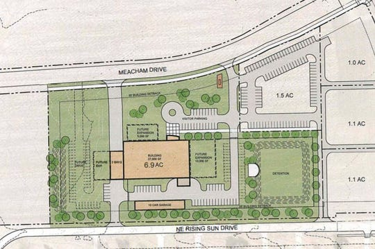 This drawing shows a concept for the future site of the proposed Pleasant Hill police building. The city entered a development agreement Tuesday that will allow it to acquire 6.9 acres of land for the building.