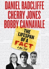 """A promotional poster for """"The Lifespan of a Fact,"""" a Broadway play based on a book co-written by Iowa author John D'Agata and Jim Fingal."""