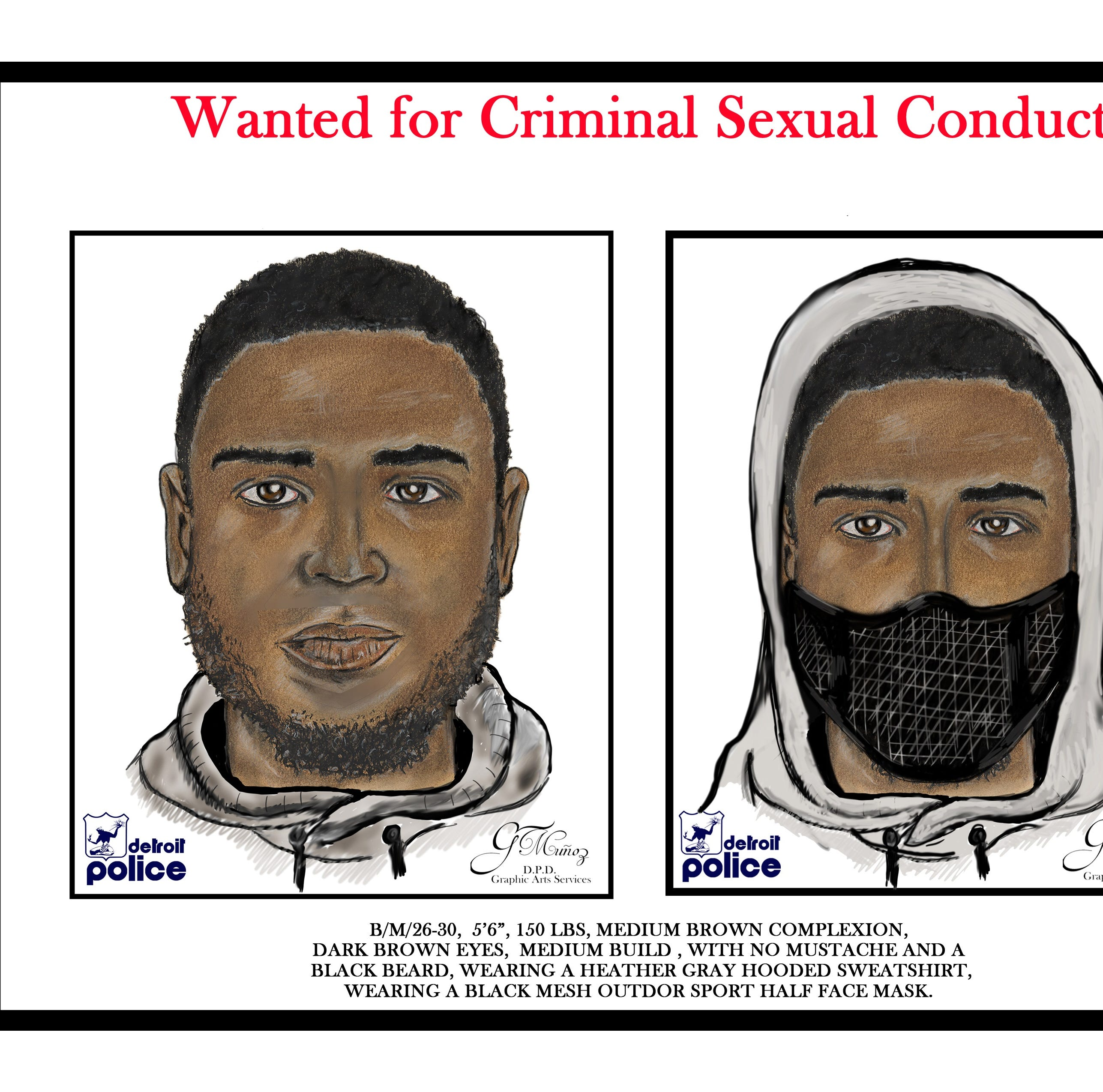 Detroit police looking for serial rapist, suspect sketch released