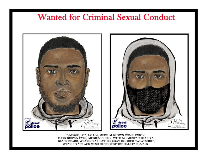 A sketch of a man wanted in connection with three sexual assaults and one attempted assault in Detroit. The sketch was release by police on September 18, 2018.