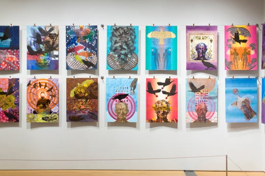 "Several pieces from John Gutoskey's ""PULSE Nightclub: 49 Elegies"" at the 2018 ArtPrize."