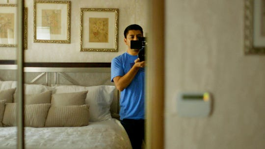 """""""The Sentence"""" director Rudy Valdez captures himself on camera in this frame grab from the documentary."""