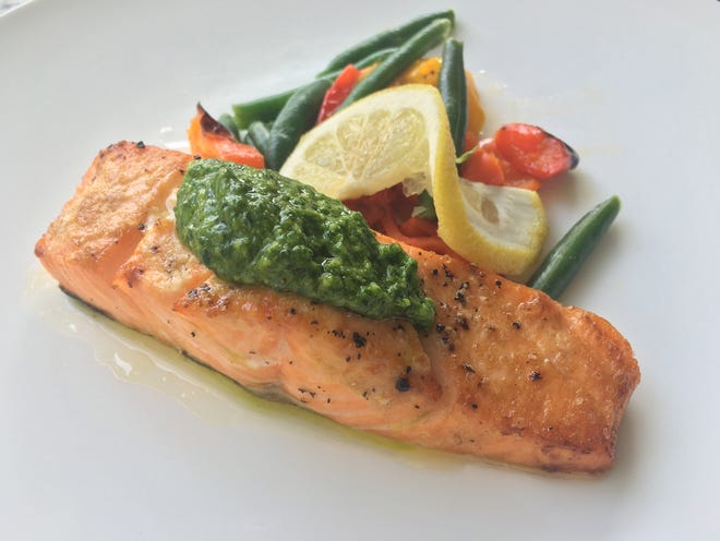 Broiled salmon, baby peppers with spinach pesto.