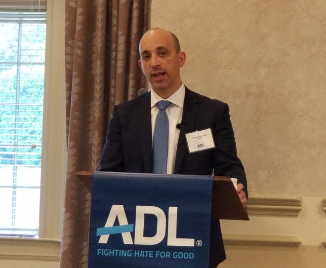 ADL CEO Jonathan Greenblatt speaks during a leadership breakfast at Knollwood Country Club in West Bloomfield on Sept. 14.