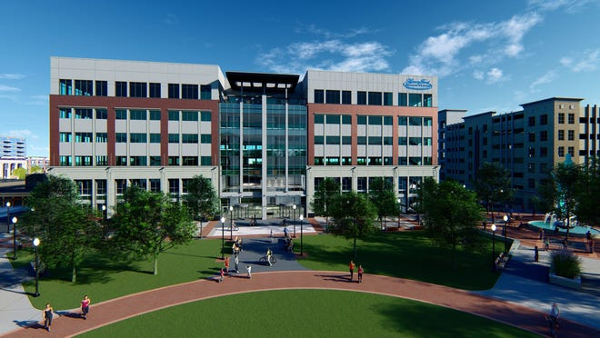 A rendering of the Henry Ford Health System's planned outpatient medical center in downtown Royal Oak's new civic center.