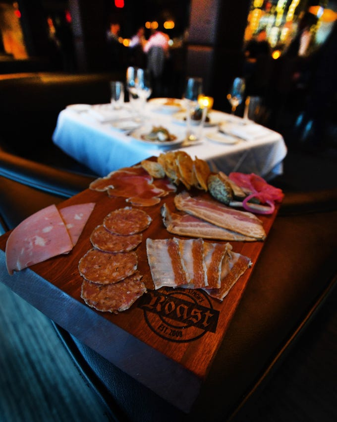 The Tenth anniversary of Michael Symon's 'Roast ' restaurant in Detroit, Michigan on September 14, 2018.  Charcuterie, a selection of house cured meats.