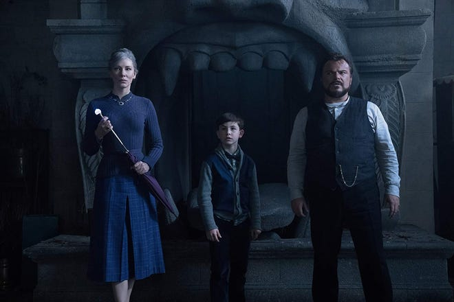 """Cate Blanchett, Owen Vaccaro and Jack Black in """"The House With a Clock in its Walls."""""""