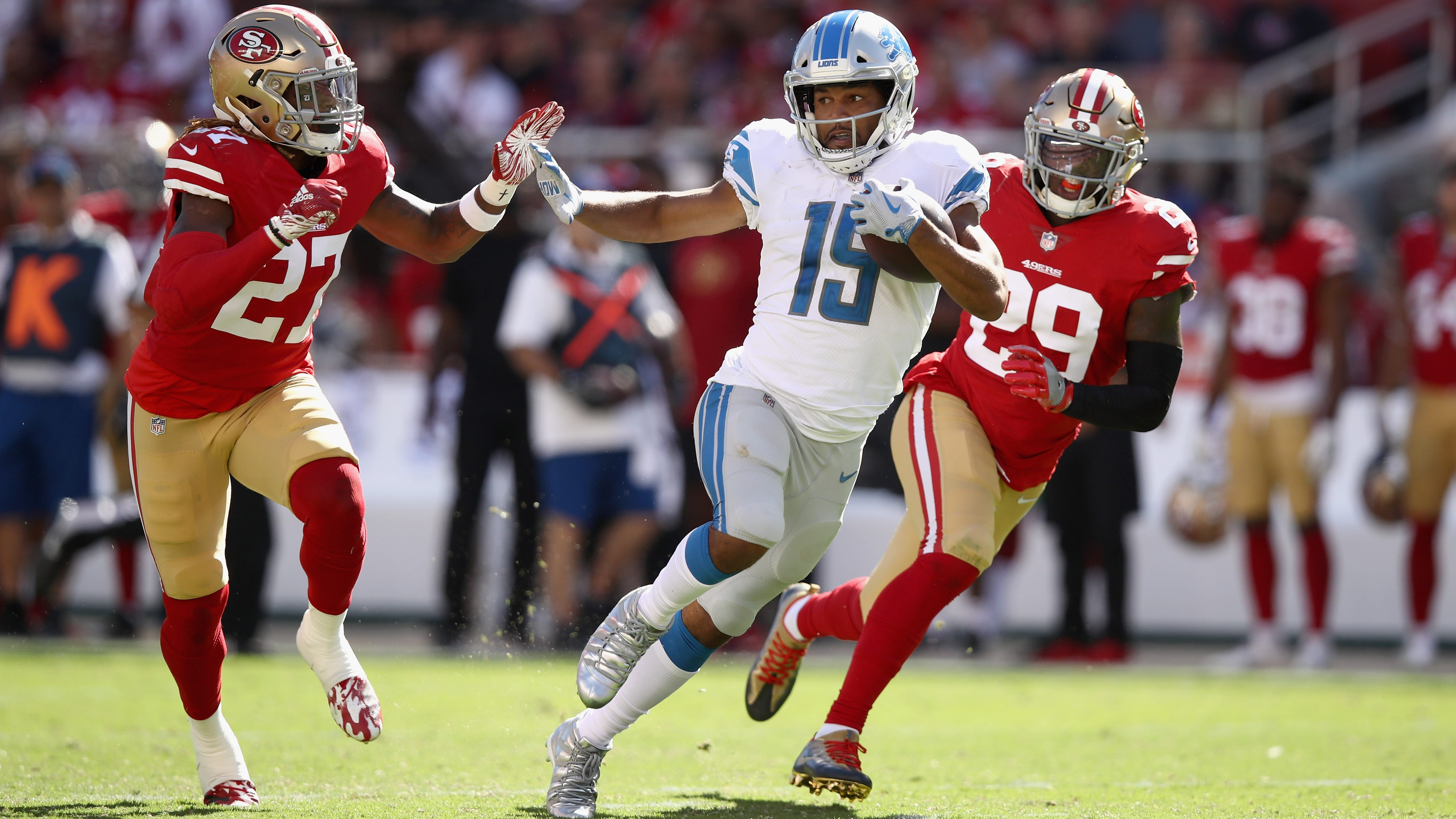 Golden Tate and the Detroit Lions host the New England Patriots on Sunday night.