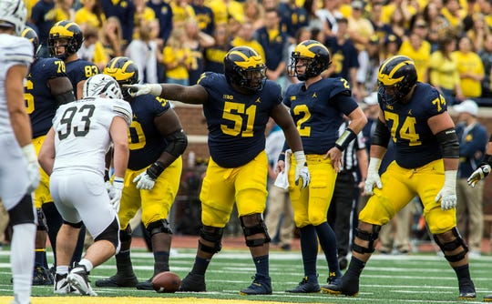 "Michigan offensive line coach Ed Warinner on Cesar Ruiz: ""We put a heavy burden on him to make a lot of communication calls."""