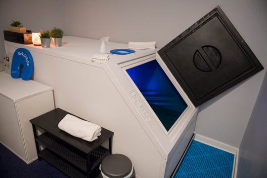 One of two sensory deprivation tanks available at ISO Float Center located inside The Arcade at North Park Shopping Center.