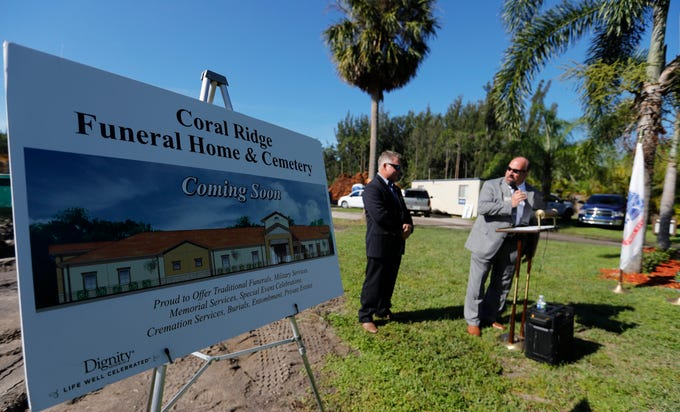 The Cape Coral historic site Coral Ridge Funeral Home and Cemetery had a ceremonial ground-breaking ceremonyÊWednesdayÊon an 8,500-square-foot-building, set to open in the spring.ÊThe new building will be on the 70-acre property, but facing Chiquita Boulevard, about 200 yards south of Pine Island Road.Ê