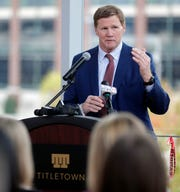 Green Bay Packers president and CEO Mark Murphy talks about plans for TitletownTech, a 46,000-square-foot building with an innovation center and space for commercial businesses,  across from Lambeau Field in Green Bay, Wis. Sarah Kloepping/USA TODAY NETWORK-Wisconsin