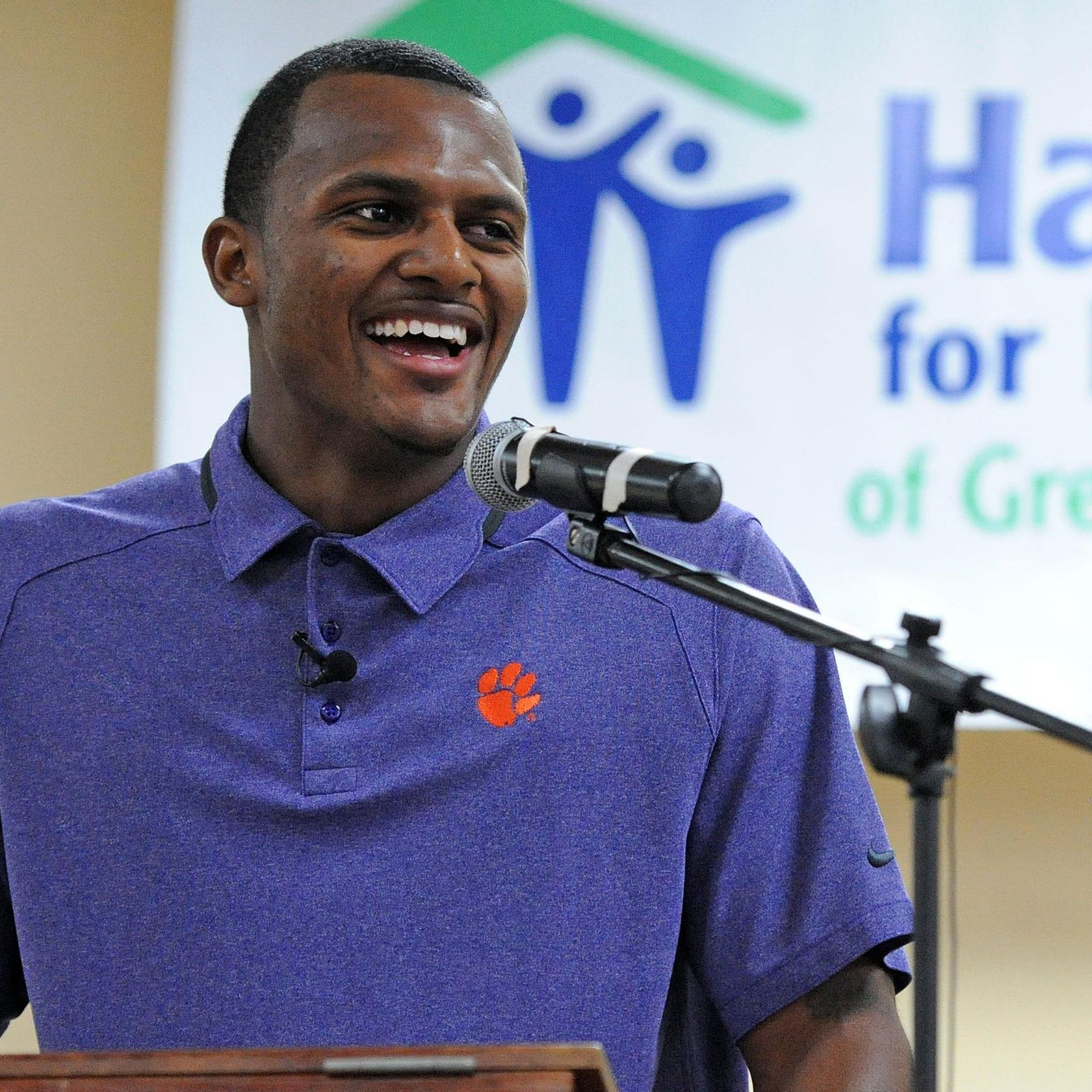 Former Clemson football star Deshaun Watson offers encouragement to Alabama's Josh Jacobs