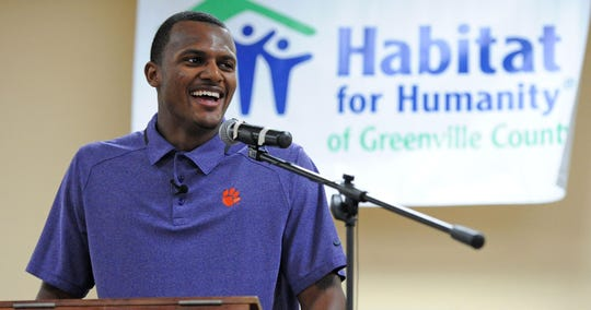 Clemson's Deshaun Watson speaks at a Habitat For Humanity event in Mauldin in 2015.