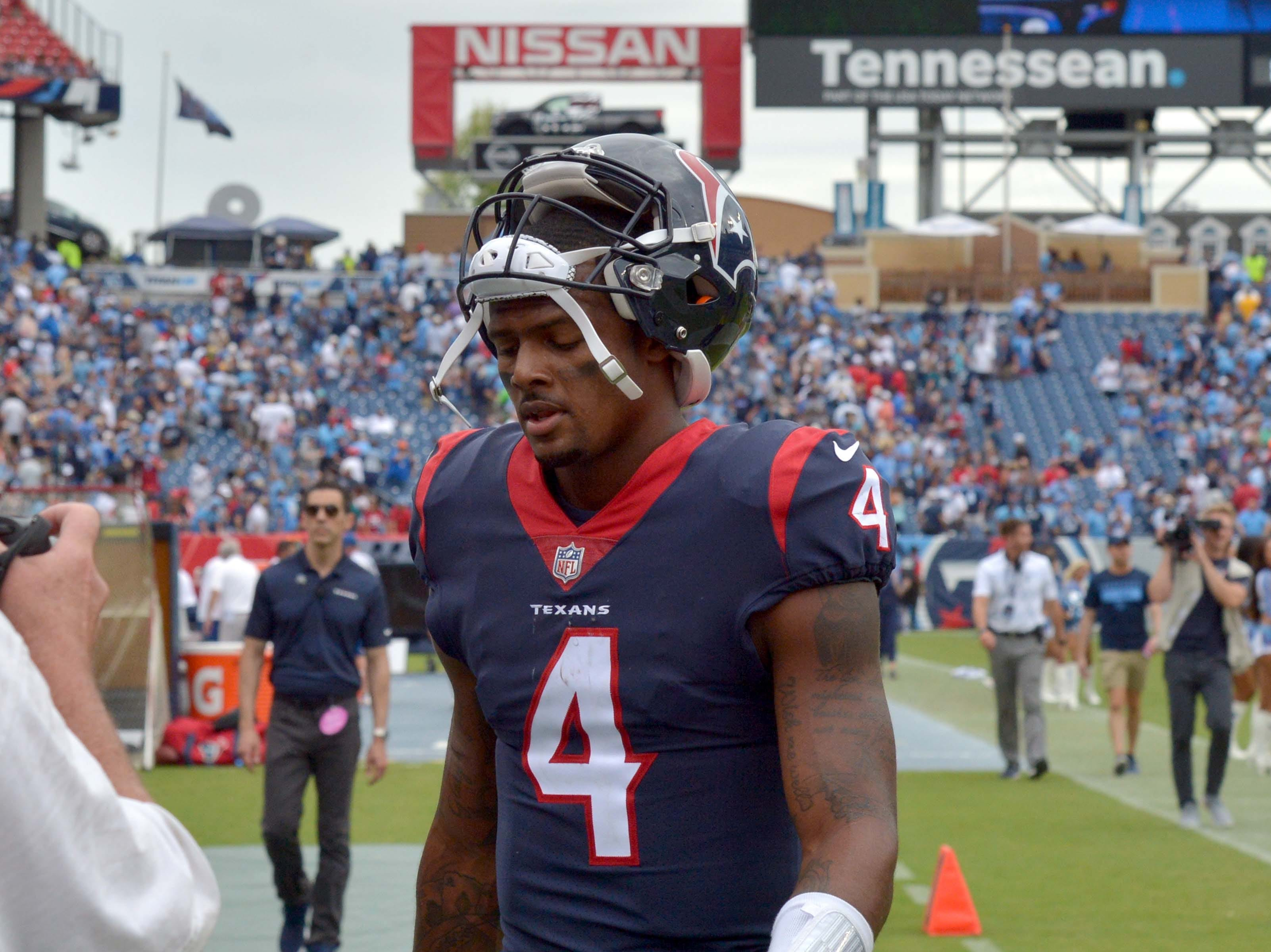 Houston Texans quarterback Deshaun Watson (4) leaves the field after his team's loss to the Tennessee Titans on Sunday in Nashville, Tenn.