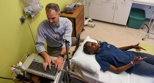 Kaimora Smith, 13, of Mauldin gets a doppler brain scan from Dr. Alan Anderson, part of a sickle cell disease test at the Cancer Institute of Greenville Health System in Greenville in September. Dr. Anderson is the medical director for the Comprehensive Sickle Cell Disease Program at the hospital.