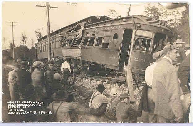 Interurban train crash near Kingsland, Ind Sept. 21, 1910.  41 were killed.