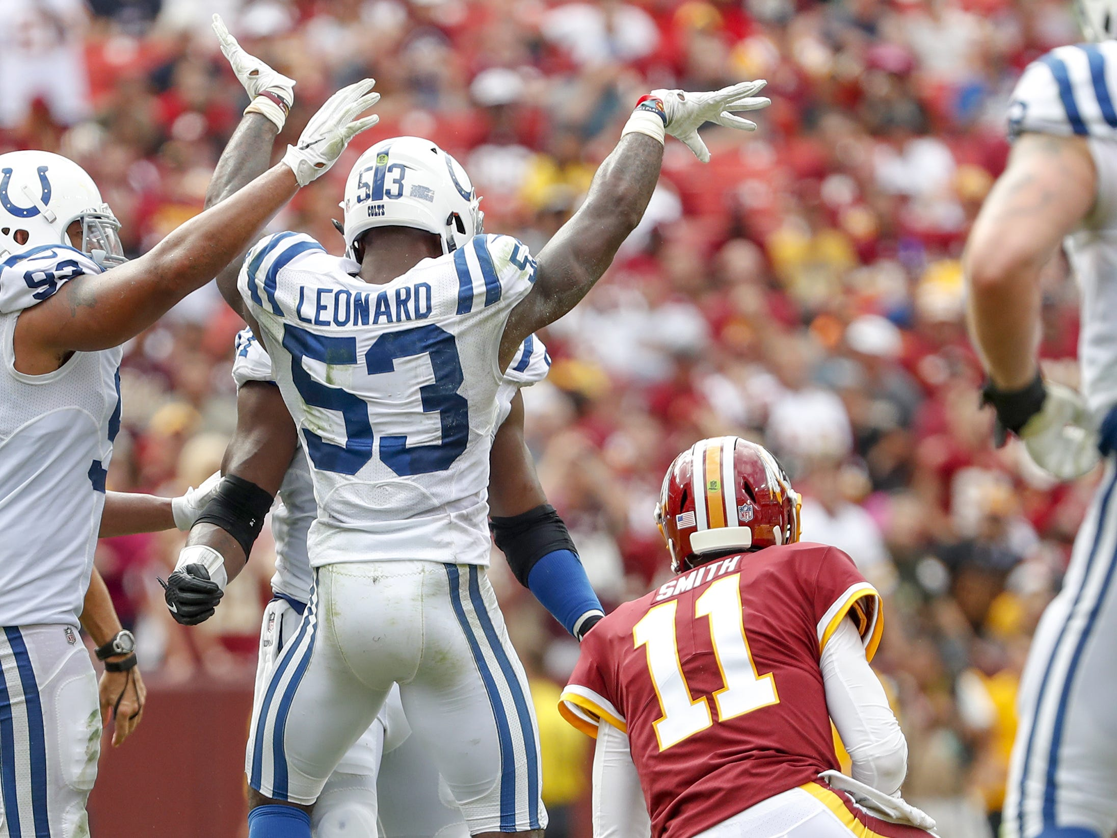 Darius Leonard (53) celebrates a sack of Washington Redskins quarterback Alex Smith (11) during the second half of play Sept. 16, 2018. second half action. The Indianapolis Co