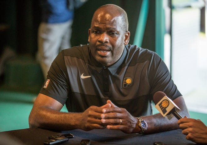 Indiana Pacers Head Coach, Nate McMillan is interviewed during the Pacers annual golf outing at the Brickyard Crossing Golf Club on Wednesday, Sept. 19, 2018.