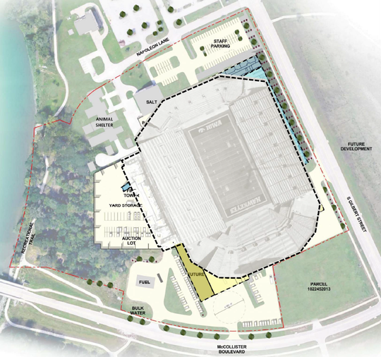 To give people a sense of the facility's size, Neumann Monson Architects offered this visual comparison to the scale of nearby Kinnick Stadium.