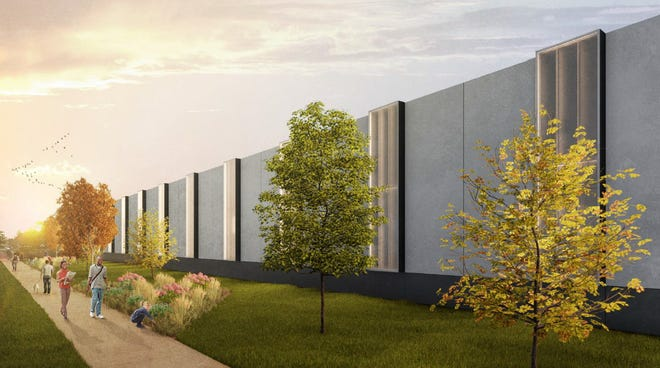 Surrounding the Public Works Complex, the concept drawings presented to City Council include a wall that will surround the buildings.