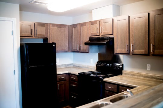 The kitchen area inside one of the Five Points Phase 2 affordable housing complex apartment in Knoxville, Tennessee on Wednesday, September 19, 2018. The 10-building, 84-unit affordable housing complex has been part of Mayor Rogero's focus on affordable housing.