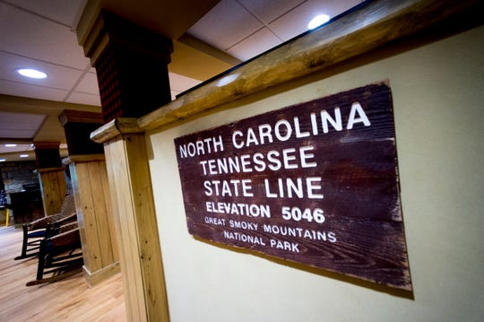 A re-creation of an Appalachian Trail sign is at The Appy Lodge in Gatlinburg, Tenn. The hotel partnered with Appalachian organizations to create an Appalachian Trail theme.