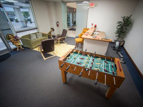 A break area inside Upstart Knoxville, a coworking space in the Cedar Bluff area of Knoxville.