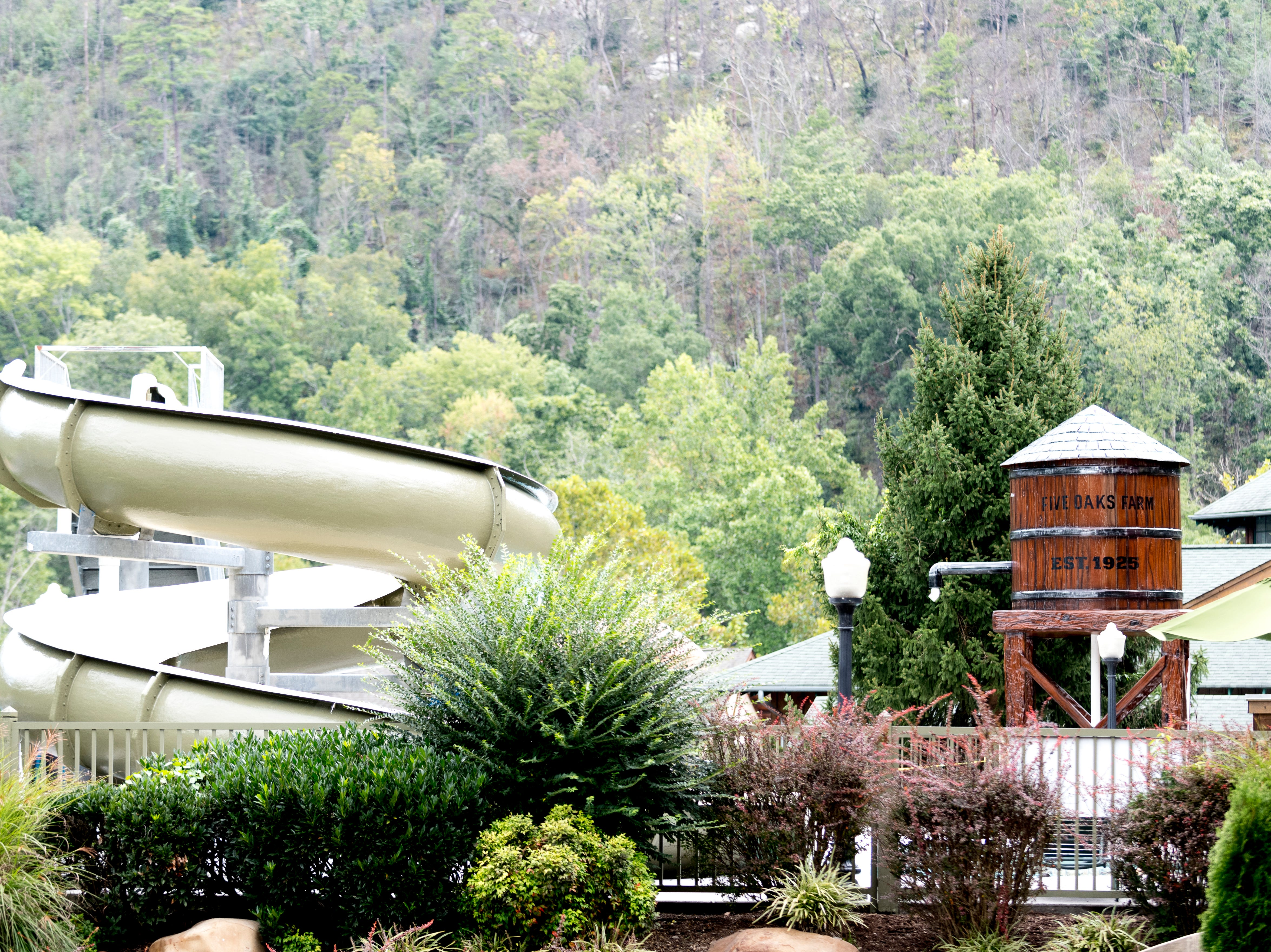 The outdoor pool at The Appy Lodge in Gatlinburg, Tennessee on Tuesday, September 18, 2018. The hotel partnered with Appalachian organizations to create a Appalachian Trail theme.