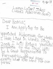 Nine-year-old Leilani Johns was approved to run for Farragut's open alderman position after submitting this application.