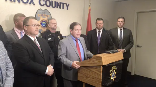 Knox County Sheriff Tom Spangler gives an update on the arrests made in a $150,000 diamond theft on Wednesday, Sept. 19, 2018.