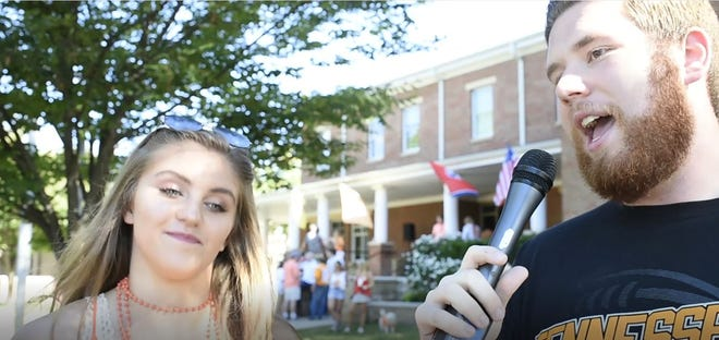 Vol Boy Ryan Wilusz asks a Tennessee fan for relationship advice before the UT vs. UTEP game Sept. 15.