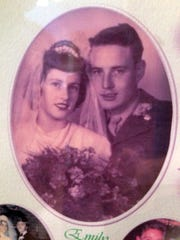 Leon and Emily Cagle on their wedding day, September 21, 1948.