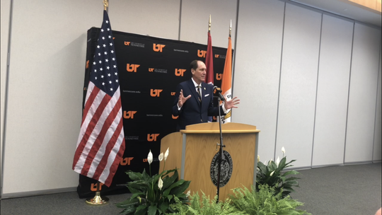 John Compton, chair of the University of Tennessee Board of Trustees, held a press conference on Wednesday afternoon to discuss his recommendation for interim president of UT, Randy Boyd.