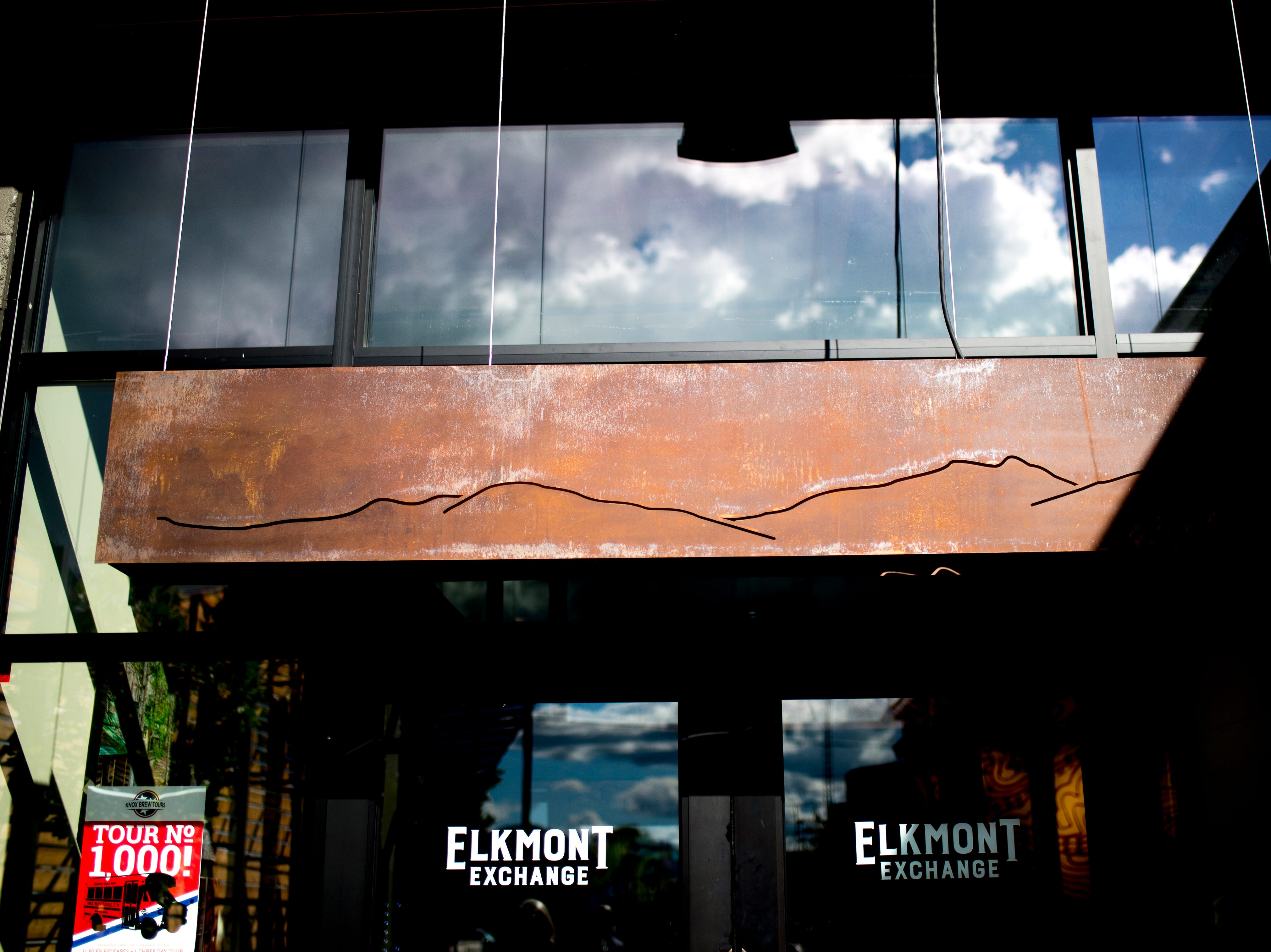 The main entrance to Elkmont Exchange in Knoxville, Tennessee on Friday, September 14, 2018. Elkmont Exchange features many fixtures and furniture inside the brewery and restaurant created by local makers.