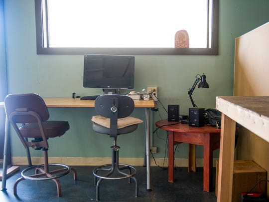 Work areas inside Technology Cooperative, a coworking space in Emory Place in Knoxville.