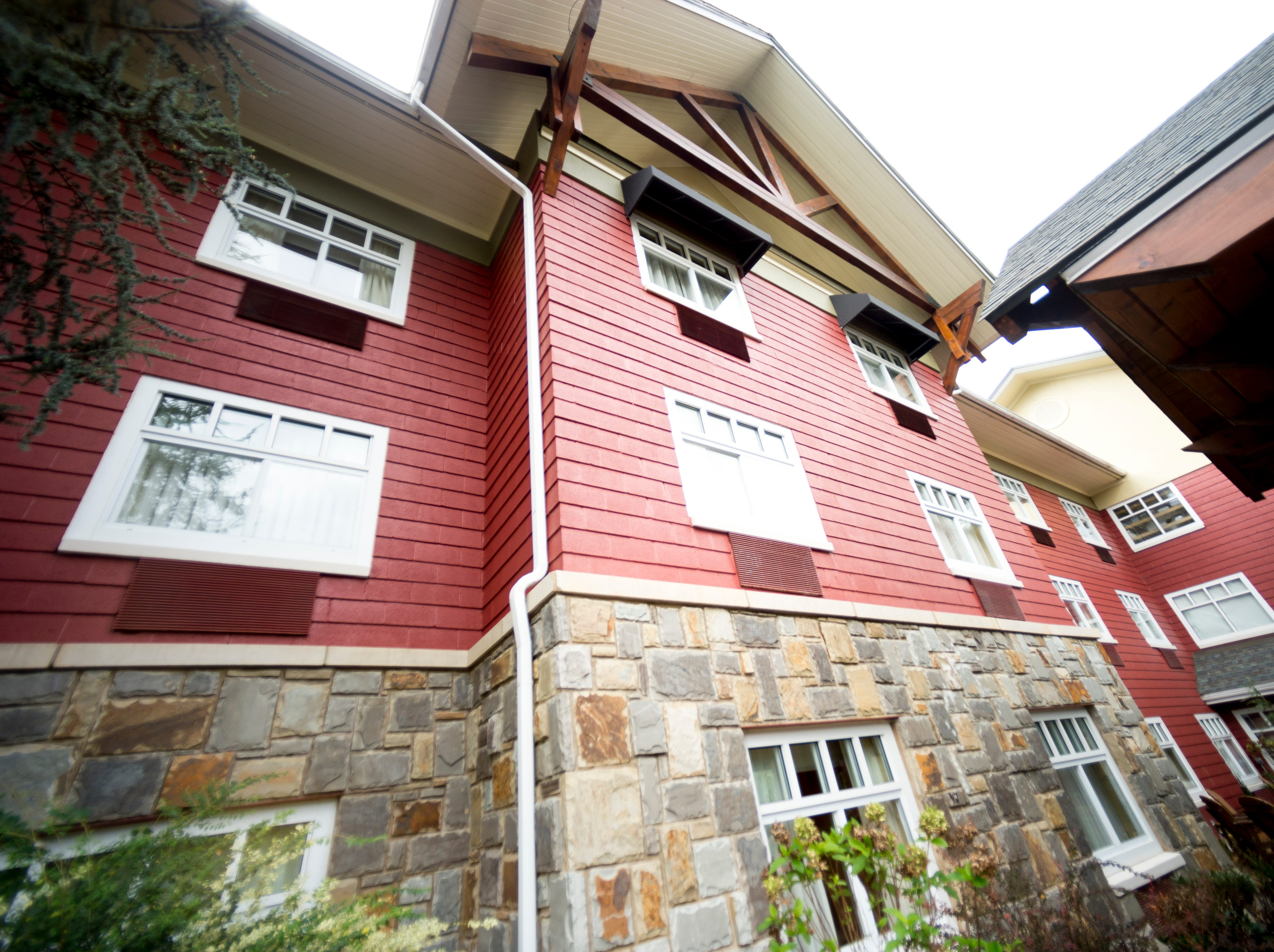 Red paneling across The Appy Lodge in Gatlinburg, Tennessee on Tuesday, September 18, 2018. The hotel partnered with Appalachian organizations to create a Appalachian Trail theme.