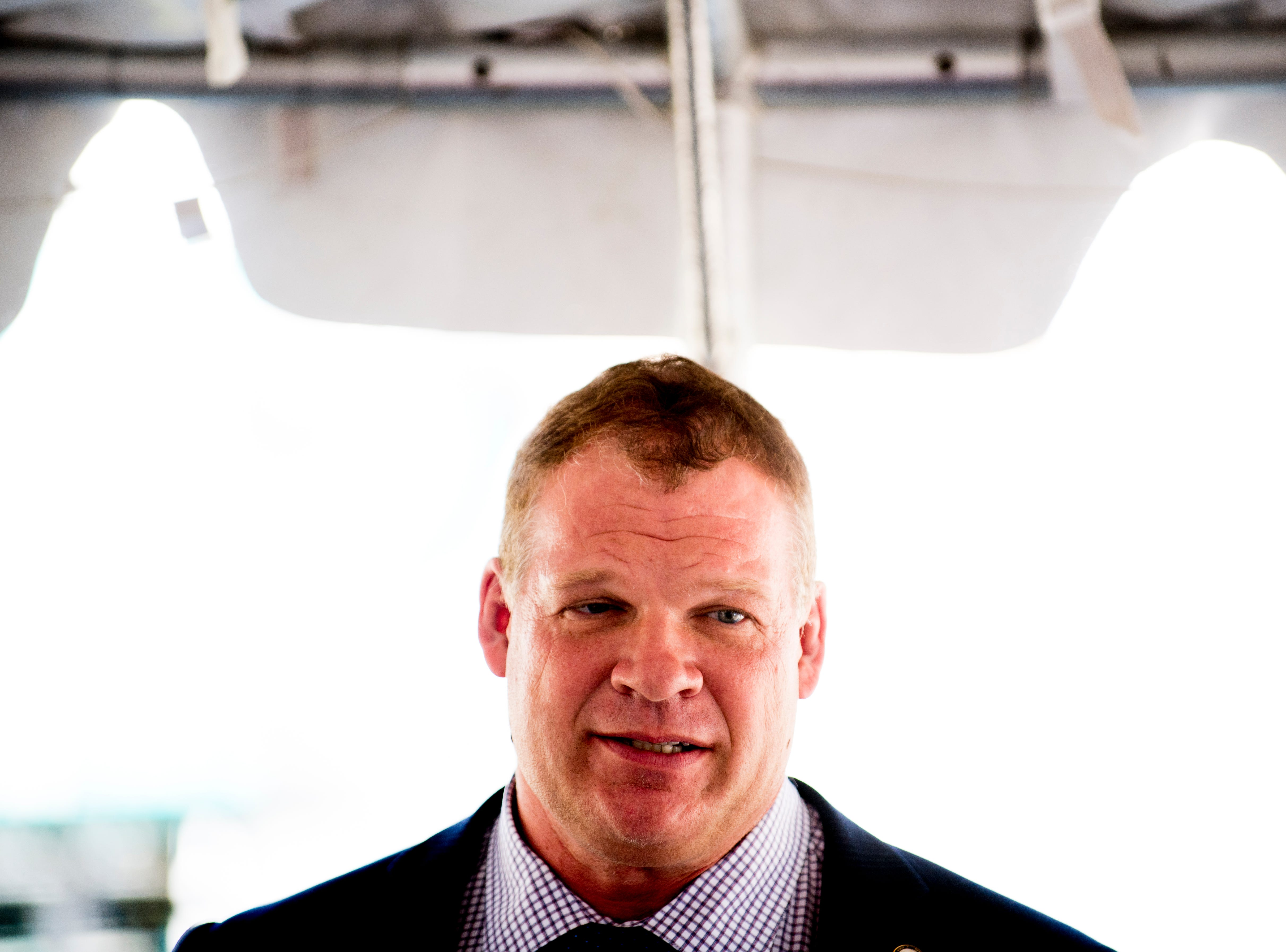 Knox County Mayor Glenn Jacobs speaks during the Five Points Phase 2 ribbon-cutting ceremony in Knoxville on Wednesday, Sept. 19, 2018.