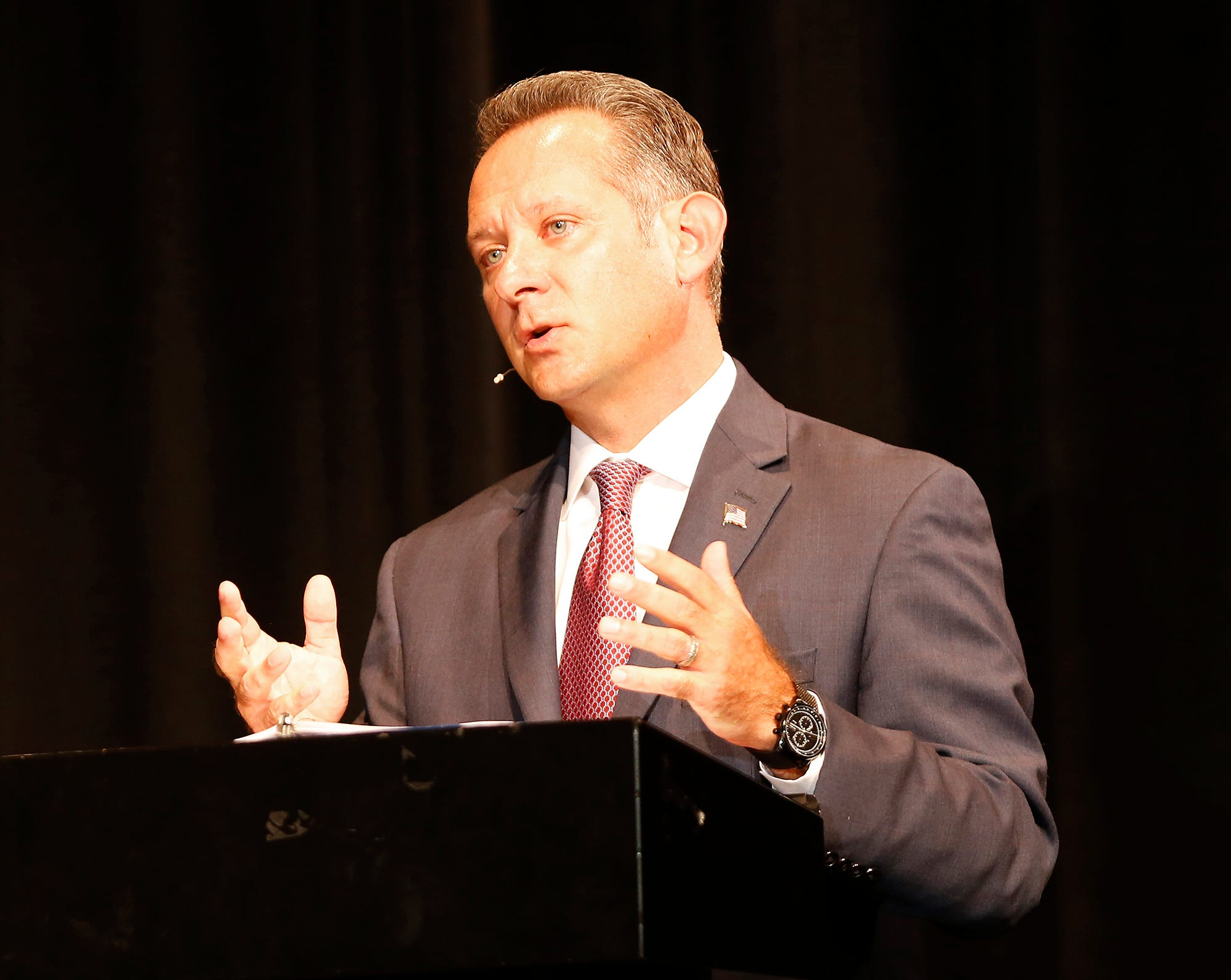 Republican candidate for Tippecanoe County Sheriff Jason Dombkowski answers a question during a debate with his Democrat opponent, Bob Goldsmith, Wednesday, September 19, 2018, at Harrison High School. The event was sponsored by Greater Lafayette League of Women Voters, WLFI, Wabash Area Lifetime Learning Association, and the AP government classes at Harrison and Lafayette Jefferson high schools.