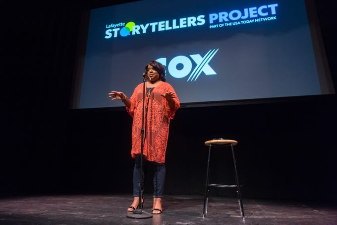 Tonya Bolden-Ball speaking at the Lafayette Storytellers Project - Back to school. Tuesday, Sept. 18, 2018.