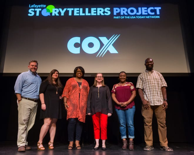 Lafayette Storytellers Project - Back to school speakers. L-R David Daquin host, Casey Ardoin, Tonya Bolden-Ball, Etienne Wright, Netalia Bradley Anderson, and Eugene Kwarteng. Tuesday, Sept. 18, 2018.