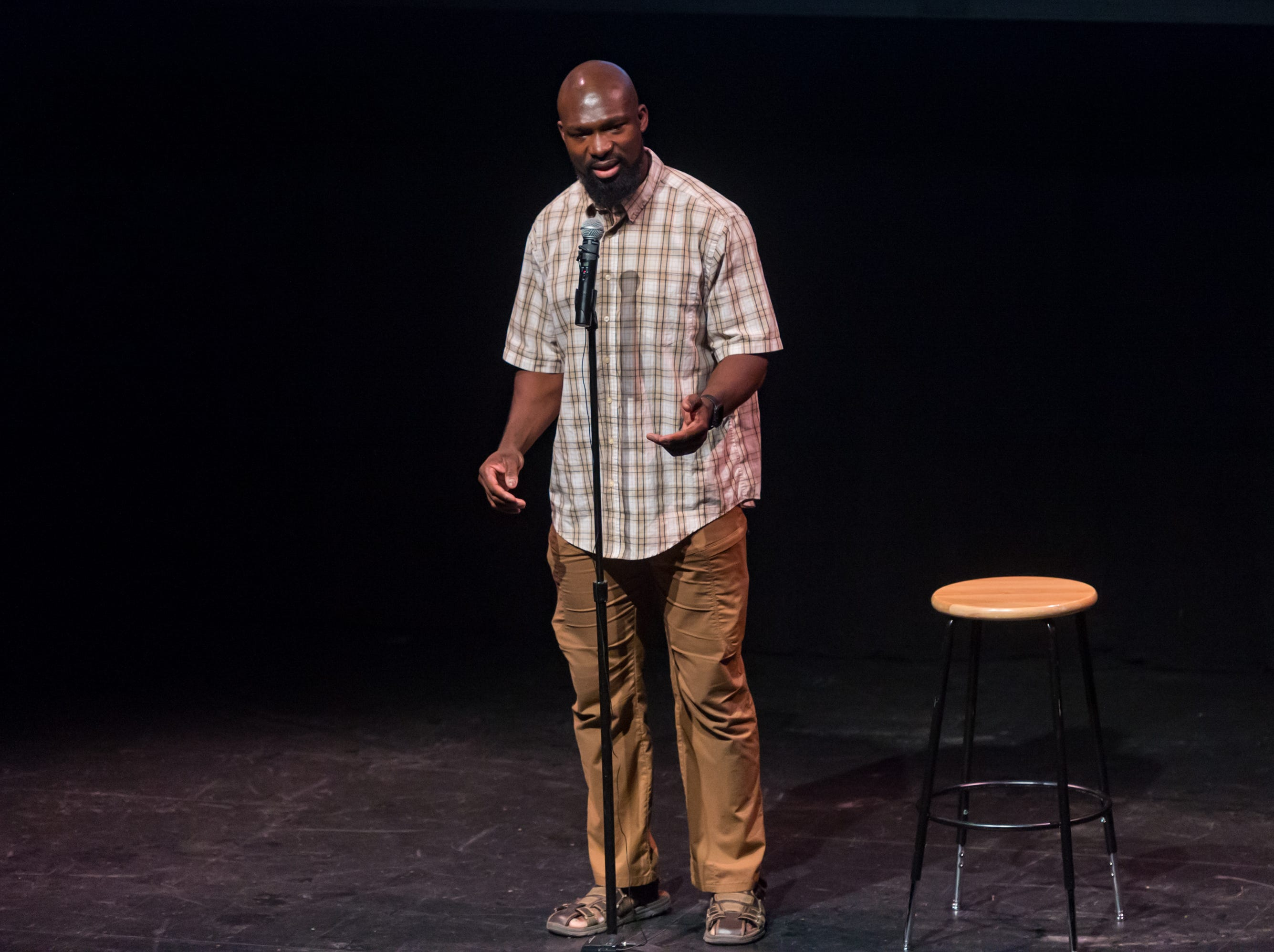 Eugene Kwarteng speaking at the Lafayette Storytellers Project - Back to school. Tuesday, Sept. 18, 2018.