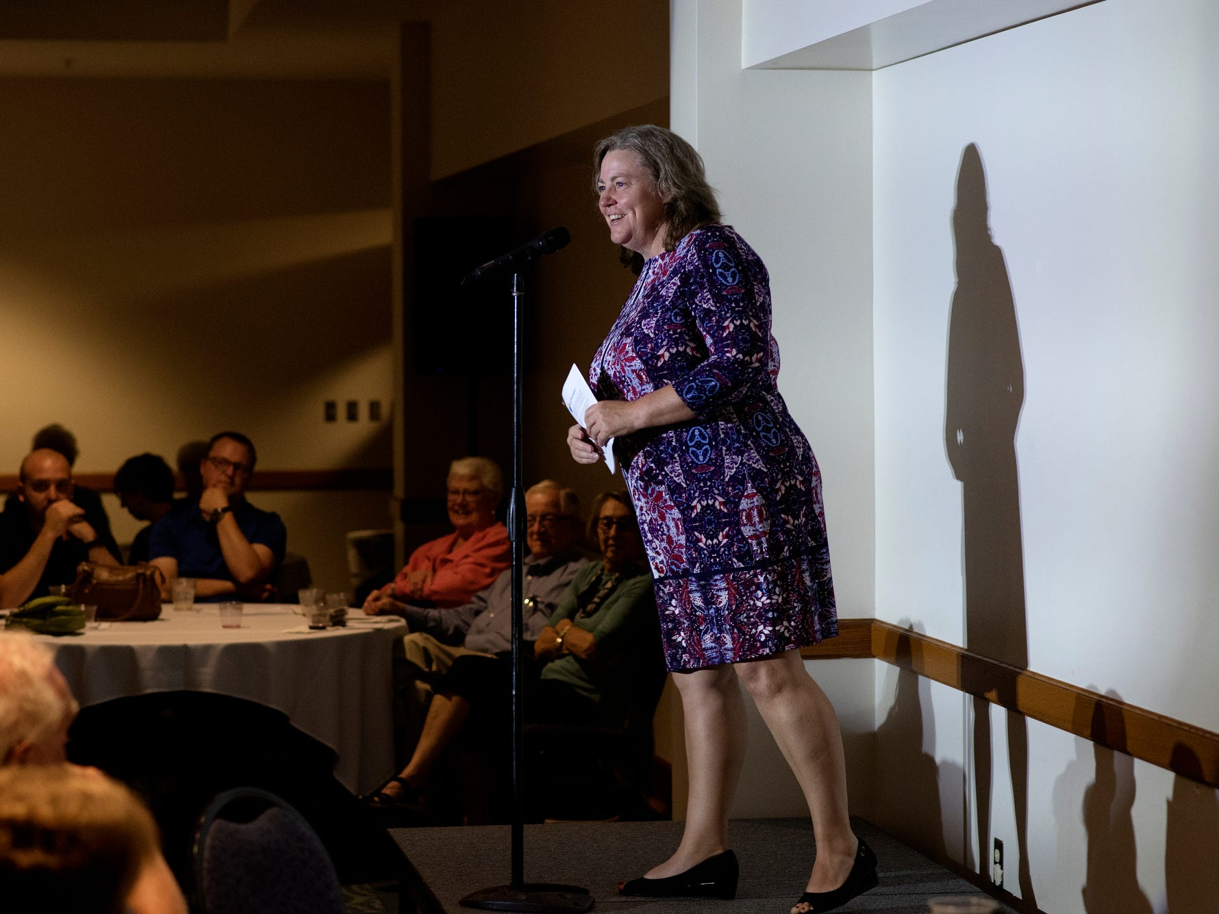 Stephanie Angel, LSJ executive editor, introduces speaker Katie Stanulis during the Lansing Storytellers Project: 'Are We There Yet?' event on Tuesday, Sept. 18, 2018, at the Hannah Community Center in East Lansing.