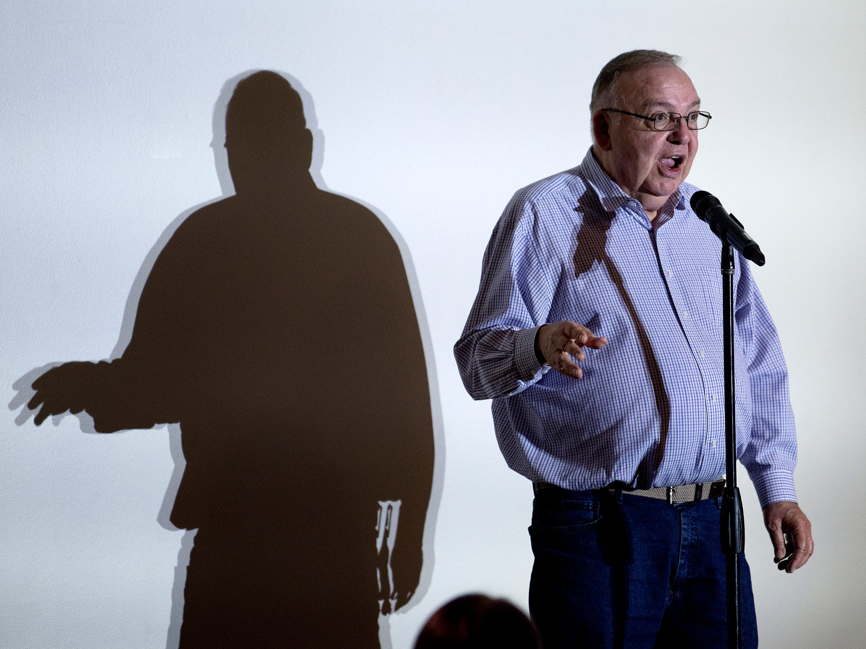 Leon Gottschalk speaks during the Lansing Storytellers Project: 'Are We There Yet?' event on Tuesday, Sept. 18, 2018, at the Hannah Community Center in East Lansing.