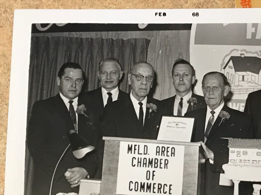 An old picture from 1971 when Wenzel's Farm won Small Business of the Year in Marshfield.