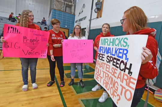Students continue their protests inside the school's gymnasium Wednesday morning.
