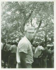 John McFerren monitoring voter registration efforts at Fayette County Courthouse circa 1960.