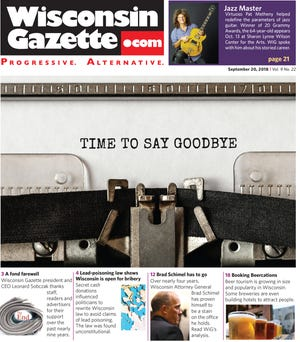 The final cover of the Wisconsin Gazette
